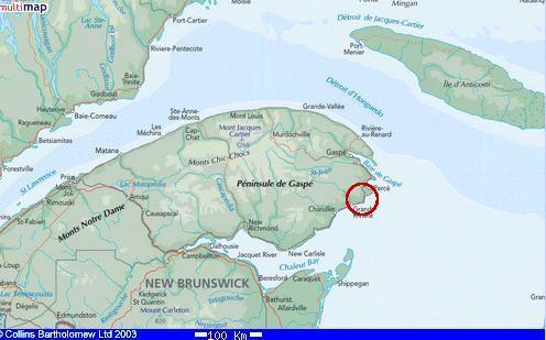 Gaspe Canada Map.Cap D Espoir Quebec